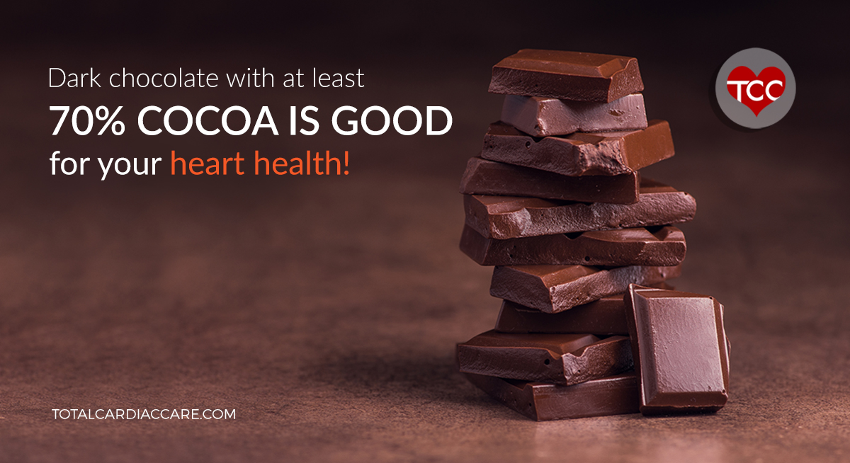 Dark chocolate and heart health - Total cardiac care (2) - Dark chocolate with at least 70% cocoa is good for your heart health!