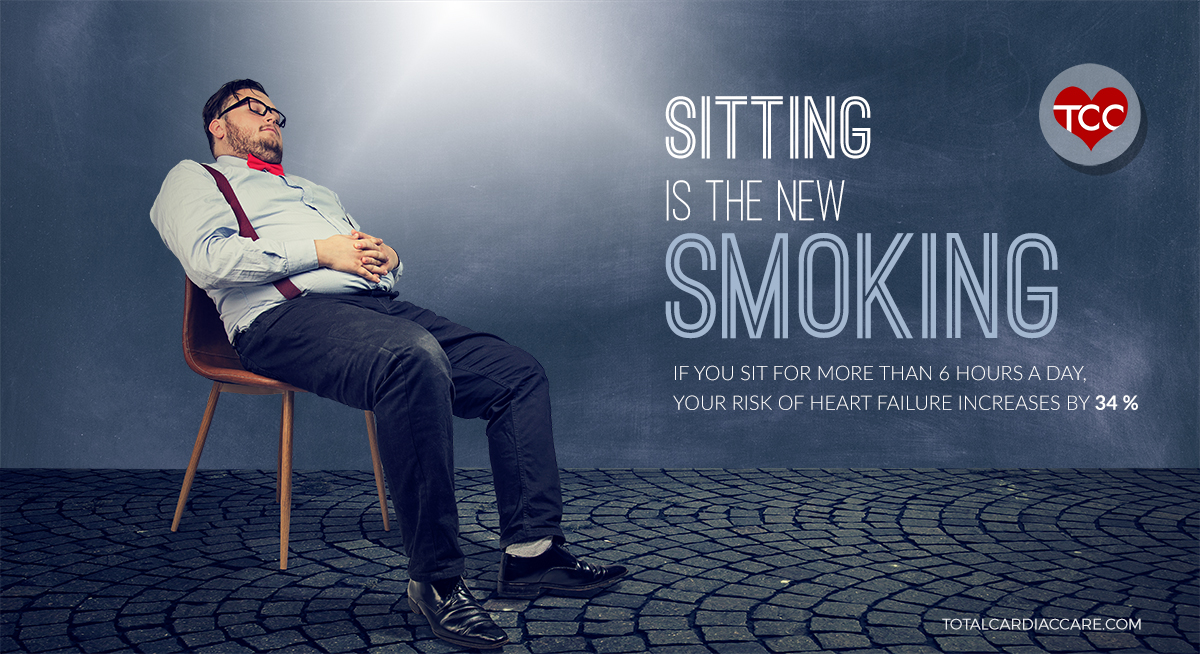 If you sit for more than 6 hours a day, your risk of heart failure increases by 34 % - SITTING IS THE NEW SMOKING - Marathon sitting sessions increase your risk of obesity, cardiovascular diseases, diabetes and even cancer! Sitting sessions change your body's metabolism. Certain enzymes move the harmful fat from your arteries to your muscles so that they can get burned off. But prolonged sitting can slow down this process. Your lower body muscles shuts down and your 'good cholesterol' level drops. While at work, take a 5 min walk after every 1-hour of sitting. Sitting kills, Moving is the pill!